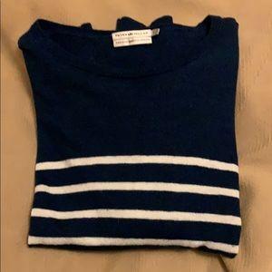 Peter Miller blue/white striped wool/linen sweater